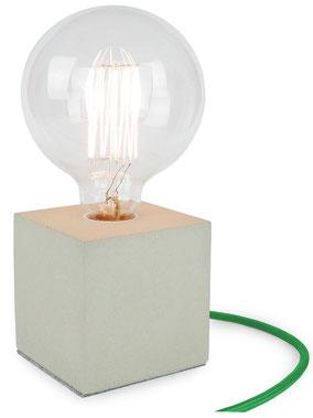 "Betonlampe Cube mit Textilkabel ""Grün"""