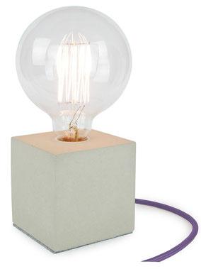 """Betonlampe Cube mit Textilkabel """"Violett (hell)"""""""