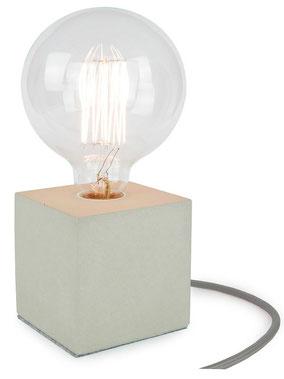 """Betonlampe Cube mit Textilkabel """"Grau"""""""