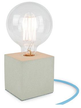 """Betonlampe Cube mit Textilkabel """"light blau"""""""