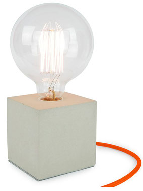 "Betonlampe Cube mit Textilkabel ""Orange"""