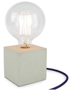 "Betonlampe Cube mit Textilkabel ""Dunkelblau"""