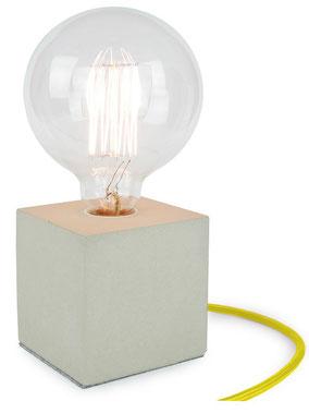 "Betonlampe Cube mit Textilkabel ""Gelb"""