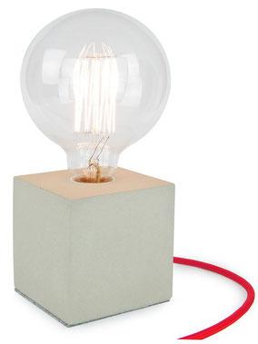 """Betonlampe Cube mit Textilkabel """"Rot"""""""