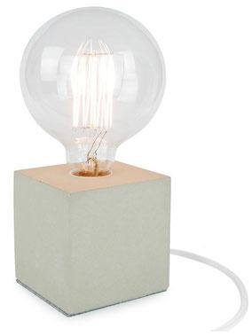 """Betonlampe Cube mit Textilkabel """"Weiß"""""""