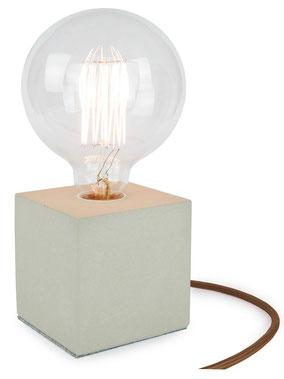 """Betonlampe Cube mit Textilkabel """"Braun"""""""