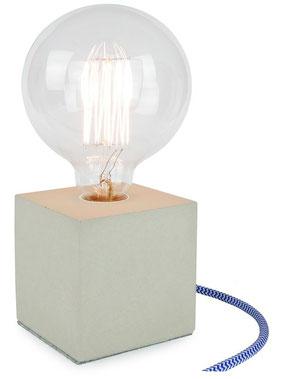 """Betonlampe Cube mit Textilkabel """"Blau-Weiß"""""""