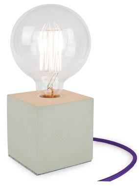 """Betonlampe Cube mit Textilkabel """"Violett"""""""