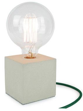 "Betonlampe Cube mit Textilkabel ""Dunkelgrün"""