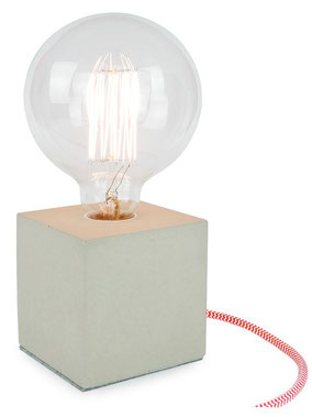 """Betonlampe Cube mit Textilkabel """"Rot-Weiß"""""""