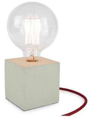 "Betonlampe Cube mit Textilkabel ""Bordeaux"""