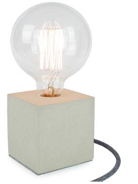 "Betonlampe Cube mit Textilkabel ""Baumwolle"""