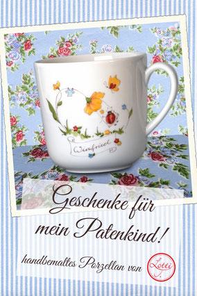 handbemaltes Porzellan, individuelles Geburtsgeschenk, personalisiertes Taufgeschenk, Marienkäfer, Fliegenpilz