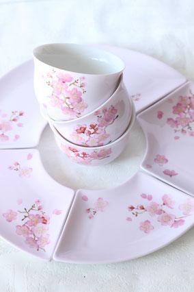 ポーセラーツ 桜の和食器