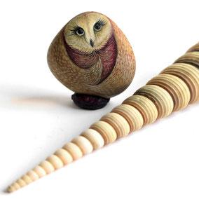 Galet décoratif CHOUETTE - peinture acrylique sur galet - fini satiné