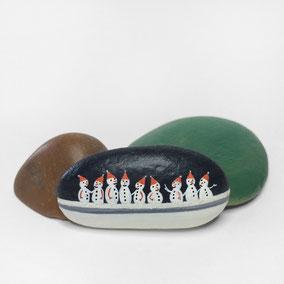 Galet décoratif SNOWMEN - peinture acrylique et crystal sur galet de rivière - fini satiné