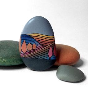 Galet décoratif PAYSAGE - acrylique sur galet de rivière - fini mat