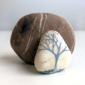 Galet décoratif - arbre acrylique gris - galet du Salat beige veiné gris anthracite - fini satiné