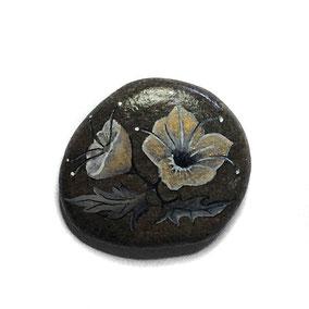 Fleurs acrylique blanc et or - galet gris anthracite - vernis satiné