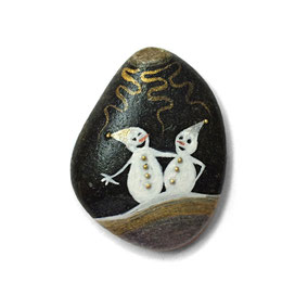 Duo de bonhommes de neige acrylique blanc et doré - perles dorées - galet noir - vernis mat