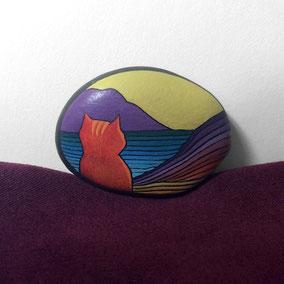 Galet décoratif CHAT - peinture acrylique sur galet de rivière - fini satiné