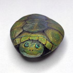 Galet décoratif tortue - acrylique vert et bronze - galet de rivière - fini satiné