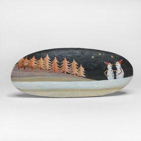 Galet décoratif SNOWMEN et SAPINS - peinture acrylique sur galet de rivière - fini mat