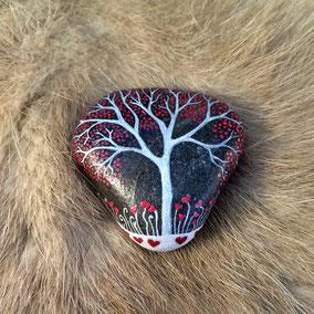 Galet du Salat cœur Saint Valentin - arbre acrylique blanc et petits cœurs rouge baiser - vernis satiné