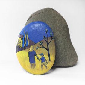 Galet décoratif FEMME et ENFANT - acrylique sur galet de rivière - fini satiné