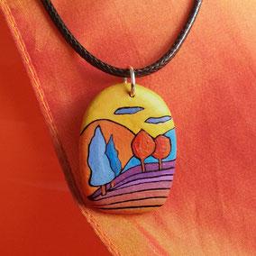 Pendentif galet peint arbre - acrylique sur galet de rivière percé - anneau argent 925 - collier cuir fermoir argent 925