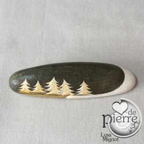 Sapins enneigés peinture acrylique blanc et or - galet gris anthracite - vernis mat