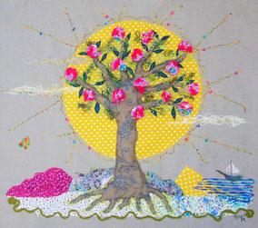 Soleil Levant - Tableau textile à accrocher au mur, Broderie sur toile coton et lin, 80 x 72 cm - Création Unique - Non disponible