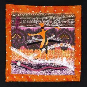 Vénétie - Tableau textile à accrocher au mur,  Broderie sur toile coton, 47x 49 cm - Création - Unique Disponible