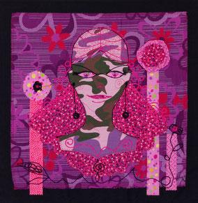Soupir - Tableau textile à accrocher au mur, Broderie sur toile coton, 47x 49 cm - Création Unique - Disponible