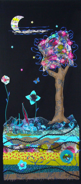 Clair de Lune - Tableau textile à accrocher au mur,  Broderie sur toile coton, 40 x 87 cm - Création Unique - Non disponible