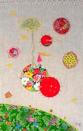 Planète - Tableau textile à accrocher au mur, Broderie sur toile lin, 50 x 78 cm - Création Unique - Disponible