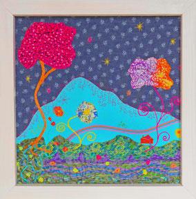 Garralda - Tableau textile à accrocher au mur,  Broderie sur toile de coton, Cadre en bois peint, 50 x 50 cm - Création Unique - Disponible