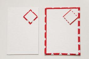 折り紙を貼らないものとはったものを用意