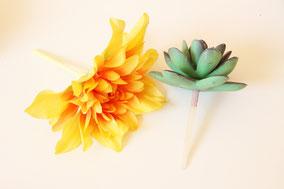 造花の茎を3〜4センチの長さまで切ります