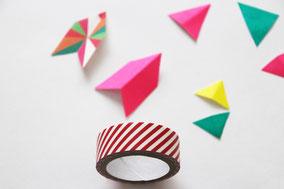 マスキングテープを三角や矢印型に切り取る