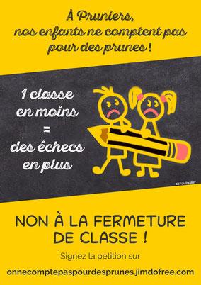A Pruniers-en-Sologne, nos enfants ne comptent pas pour des prunes - Non à la fermeture de classe