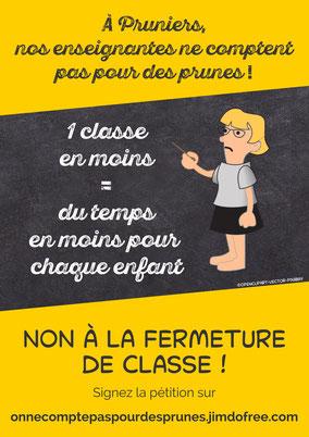 A Pruniers-en-Sologne, nos enseignantes ne comptent pas pour des prunes - Non à la fermeture de classe