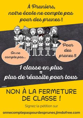 A Pruniers-en-Sologne, notre école ne compte pas pour des prunes - Non à la fermeture de classe