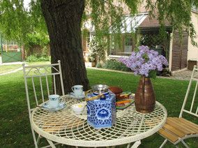A cup of tea in the shadow of the weeping willow