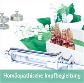 Homöopathische Impfbegleitung, Spritze, Ampullen, Blätter und Blüten