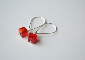 Ohrringe kleine Würfel Rot