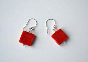 Ohrringe Würfel Rot