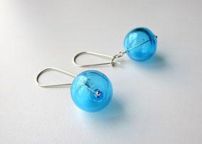 Ohrringe mit Glasperlen Türkis Blau