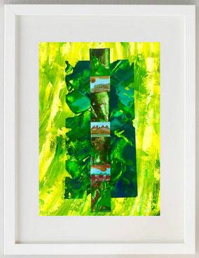 Omaggio agli alberi 1, 2020, Collage, acrilici, pastelli, 20 x 30