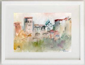Assisi - Veduta, Acquerello, 30 x 20